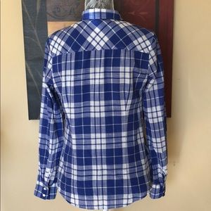 J. Crew Tops - J. Crew Perfect Blue Crinkle Plaid Shirt
